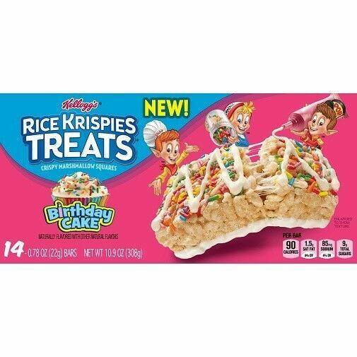 Kellogg S Rice Krispies Treats Birthday Cake X14 Bars Best By April 10 2021 For Sale Online Ebay