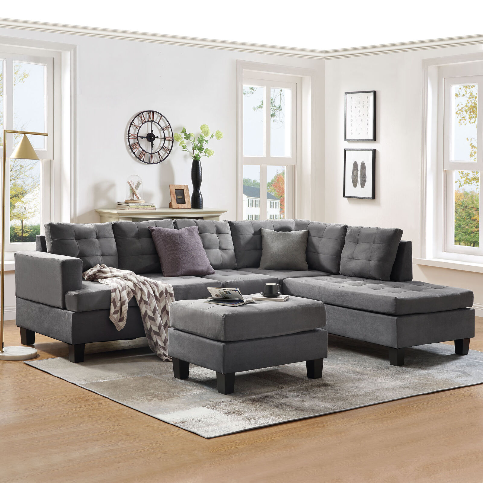 3 Piece Sectional Sofa W Chaise Lounge And Storage Ottoman L Shaped Couch Gray