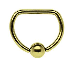 Piercing Schmuck Brust D-Ring vergoldet in 1,6mm mit geradem Steg und Klemmkugel