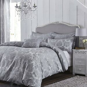 details about grey damask jacquard king size bed bedding set duvet quilt cover and pillowcases
