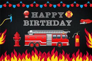 Kids Happy Birthday Party Fire Truck Backdrop 7x5ft Vinyl Photography Background Ebay