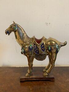 Chinese Enameled Jeweled Horse Figure Statue with Gemstones