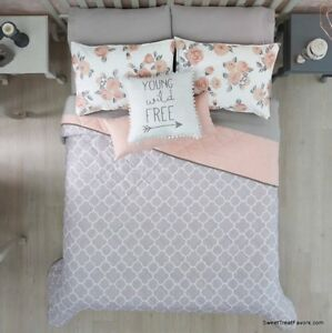 details about new free gray pink teens girls reversible comforter set 5 pcs queen full size