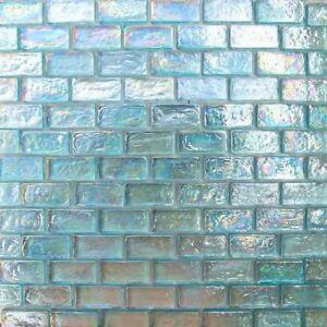 details about 1x2 aqua blue iridescent brick glass mosaic for wall and pool tile