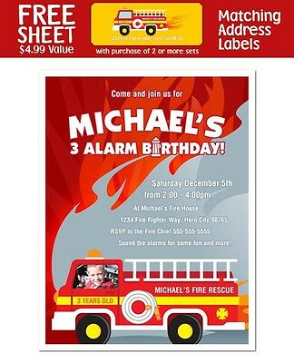8 fireman firefighter fire truck birthday with photo invitations ebay