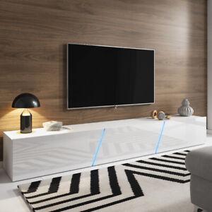 details sur meuble tv a suspendre ou a poser alamara 240 cm blanc noir gris chene led