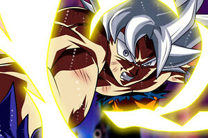 details about dragon ball super poster goku ultra instinct punching 12in x 18in free shipping