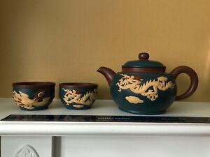 Chinese Yixing Handmade Yixing Zisha Teapot Artist 张彩娥 Zhang Caie Sign 三色紫砂泥龙凤壶