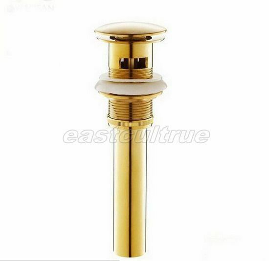 luxury gold color polished brass pop up bathroom sink drain with overflow esd023