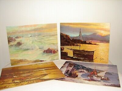 Vintage Lithograph Lot Rolling Surf Bradbury Others 11 X 14