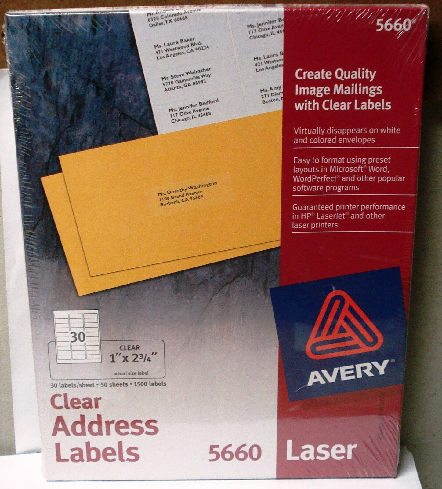 Avery 5660 Easy Peel Mailing Address Labels 1 X 2 3 4 In Clear 1500 Count