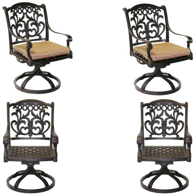 flamingo patio set of 4 dining chairs outdoor cast aluminum swivel rocker bronze 035426205654