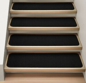 Set Of 12 Attachable Carpet Stair Treads Black Runner Rugs Ebay | Black Carpet Stair Treads | Bullnose | Slip Resistant | Interior | Gray | Indoor