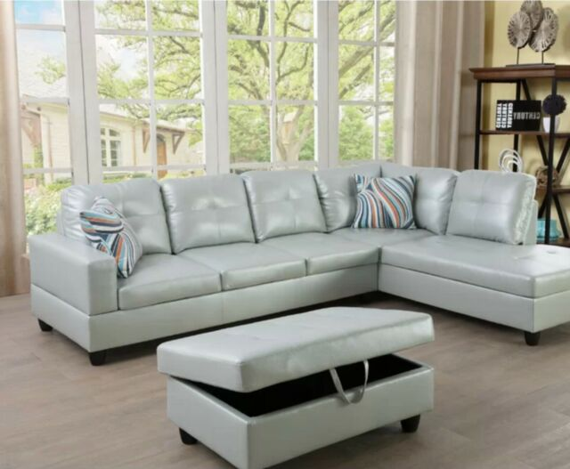 modern leather sectional sofa chaise couch set soft living room furniture silver