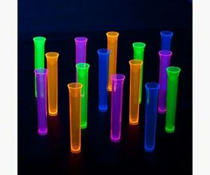 Party Essentials 15 Count Hard Plastic 1 5 Ounce Tube Shots Assorted Neon