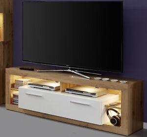 details zu tv lowboard unterteil weiss hochglanz eiche fernsehtisch 150 cm beleuchtung rock