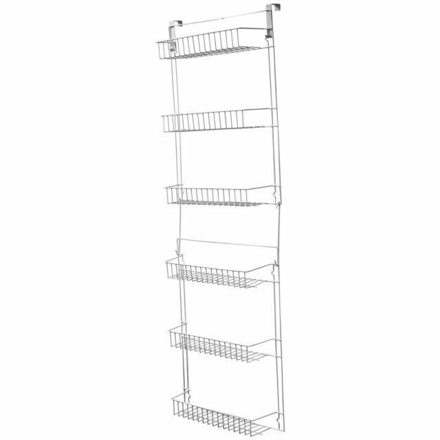 steel hanging rack 6 tier home kitchen door mounted storage shelf organizer