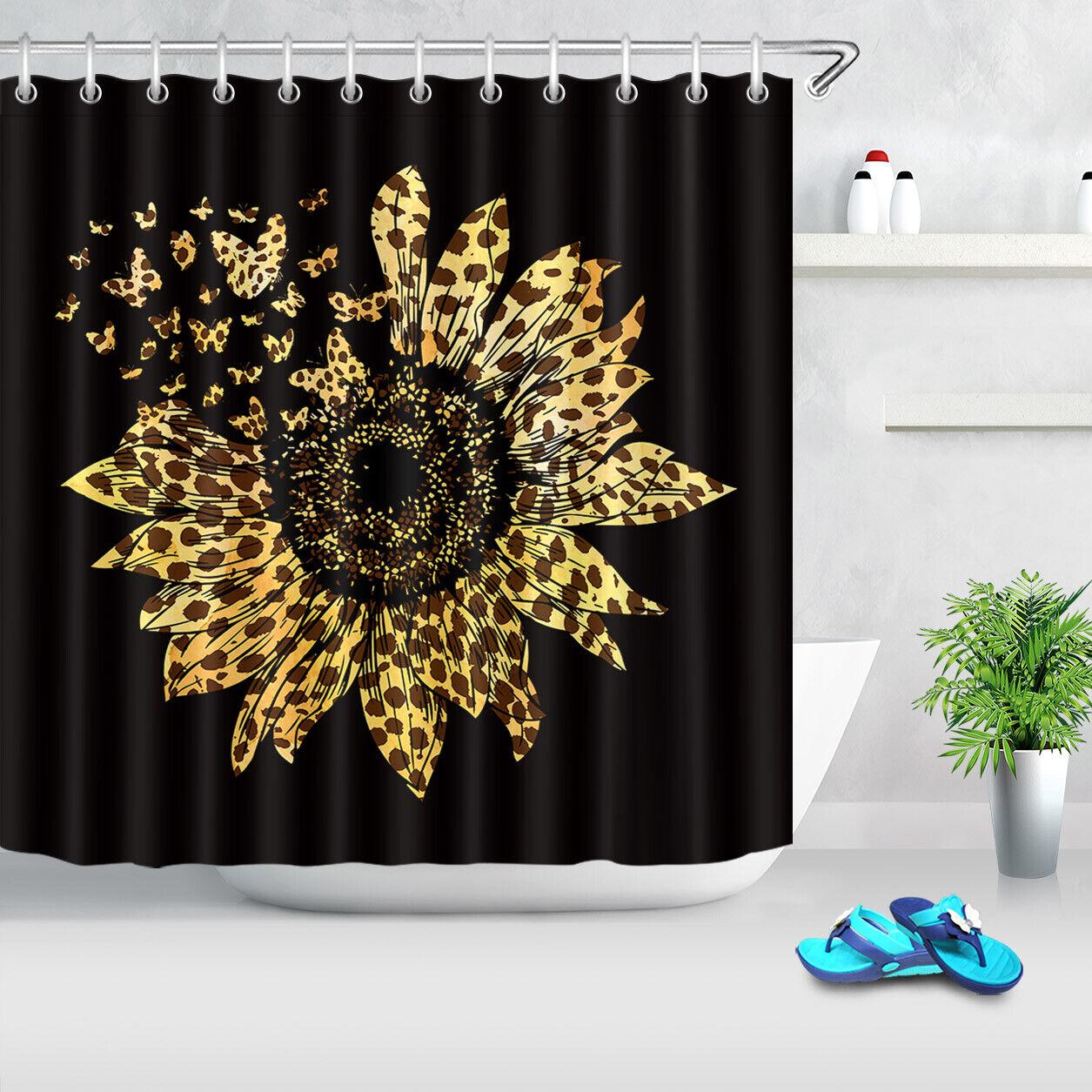 leopard dots spots sunflower butterfly black shower curtain set bathroom decor