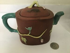 Antique Yixing Zisha Teapot With Colorful Glaze Of Grape vine and squirrel