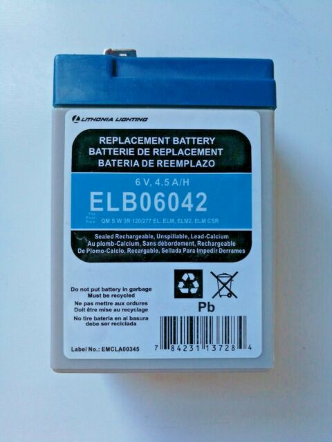 lithonia lighting elb 0642 6 volt 4 amp replacement battery
