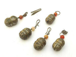 x5 Antique Chinese Sterling Silver Bell Charms Peking Glass - Lot 22