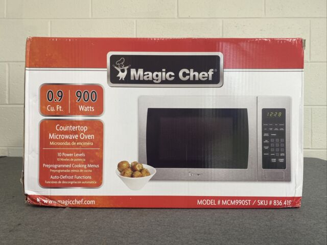 magic chef 0 9 cu ft countertop microwave in stainless steel mcm990st