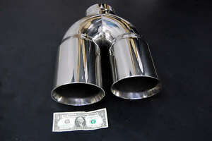details about 5 dual 6 diesel exhaust tip 5 00 stainless steel polished chrome miter stack