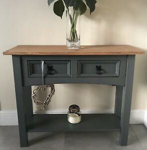 Shabby Chic Console Table In Farrow Ball Downpipe Grey Solid Pine Next Ebay