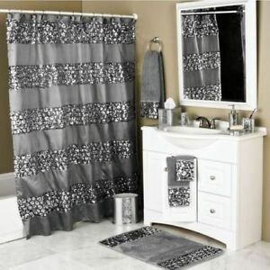 details about sparkly shower curtain unique sequin fabric bling sparkle gorgeous bathroom