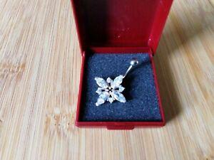 Piercing Silber 925 Glassteine Bauchnabel