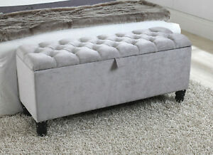 details about 4ft grey naples velvet chesterfield buttoned ottoman box with wooden legs