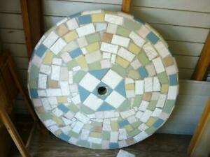 details about large round concrete tile patio table 3 benches local pick up 33412 20d005
