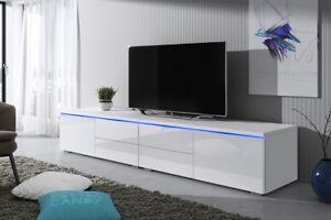 details sur luv double meuble tv 200 cm blanc noir gris laque brillant design salon moderne