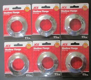 details about lot of 6 ace 1 1 2 chrome shallow flange sink drain wall flange 1 5 p s trap