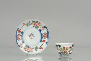"""18C Japanese Porcelain Cup & Saucer Imari 'Flowers"""" Antique Edo Period ..."""