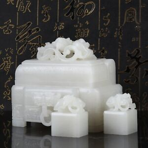 Antique Chinese Hetian Jade Carving Dragon Statue Seal and Jade Box Set