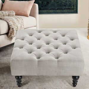 details about large footstool chesterfield deep buttons coffee table pouffe ottoman foot stool