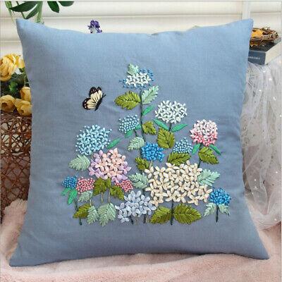 ribbon pillow embroidery kits flower pillowcase cushion cover hand craft diy ebay