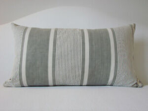 details about vintage antique french ticking grey striped lumbar pillow 22 x 12