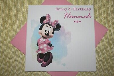 Handmade Personalised Minnie Mouse Birthday Card Any Age 1 2 3 4 5 6 7 Ebay