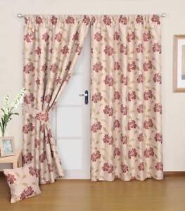 details sur double tisse beige avec rouge detail floral rideaux haut ruban embrasses