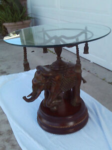 details about vintage mid century bronze elephant side table glass top tassels