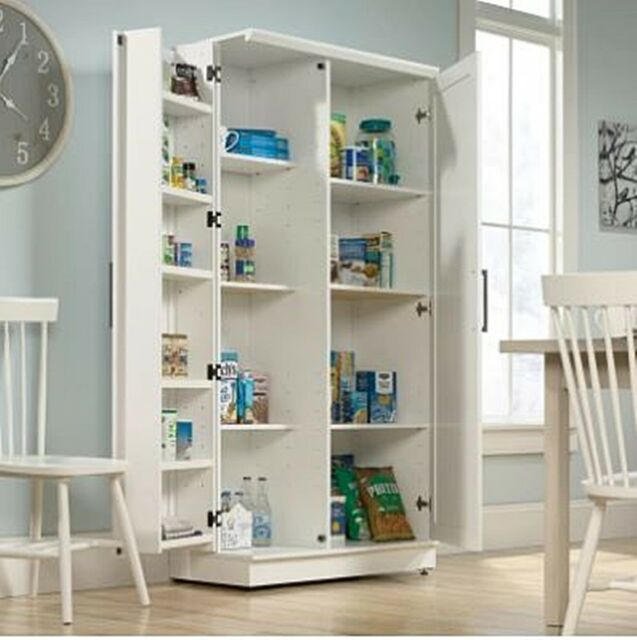 Cabinets Cupboards Home Garden White Tall Storage Cabinet With 2 Shelves And 4 Doors Kitchen Pantry Or Books 360idcom Fr