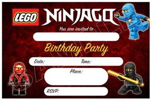 details about 15 x lego ninjago childrens boys blank diy birthday invitations free magnets