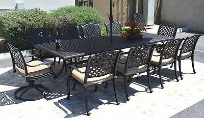 nassau 10 person cast aluminum patio dining set rectangle outdoor table 46 x 120 35426204398 ebay