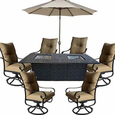 propane fire pit dining table set 9 piece outoor cast aluminum patio furniture 35426206101 ebay