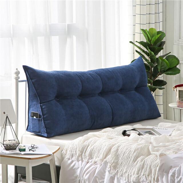 cushion twin queen king velvet wedge backrest bed sofa reading triangular pillow