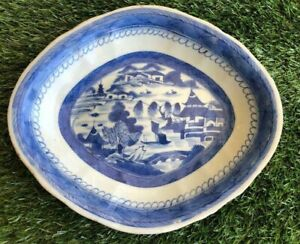 Antique Chinese Canton Export Blue White Scalloped Dish 19th c