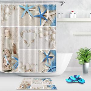 details about summer seashells beach shower curtain set fabric bathroom curtains 180 180cm