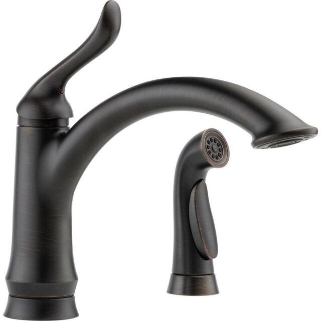 delta linden venetian bronze single handle kitchen faucet with sprayer 555826